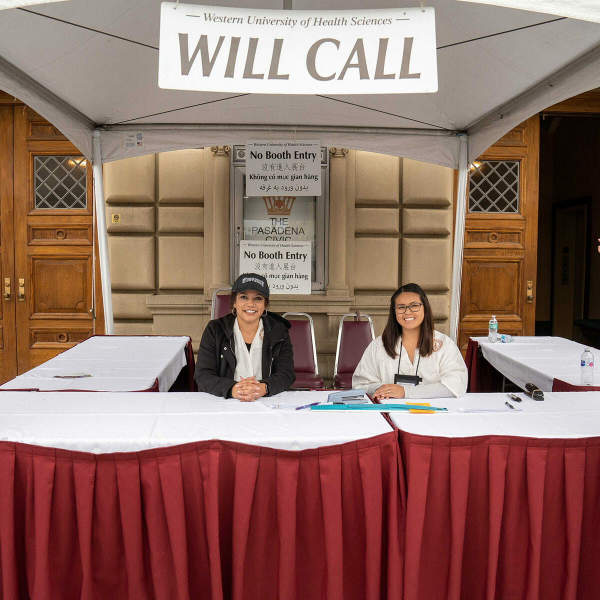 Commencement Assistants working the will-call both